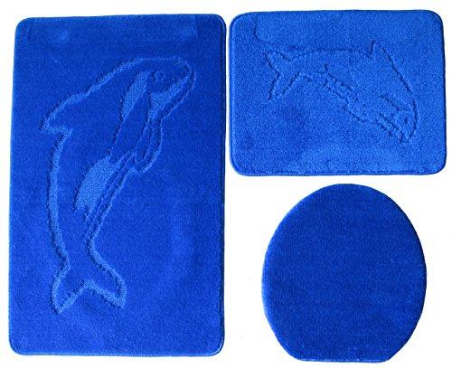 Ilkadim Delphin Badgarnitur 3 TLG. Set 55x85 cm einfarbig, WC Vorleger ohne Ausschnitt für Hänge-WC (royal blau)