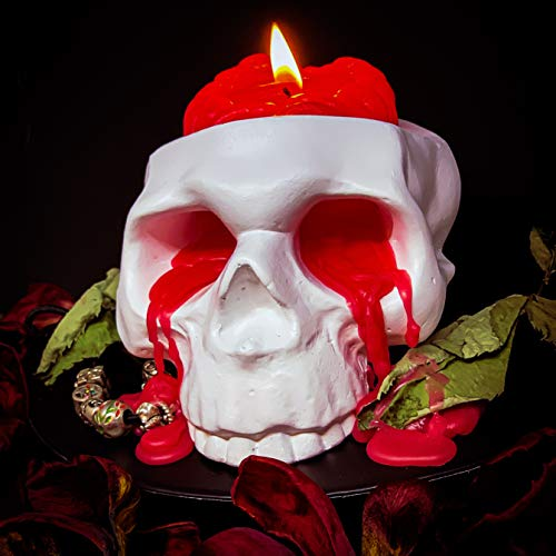 Skull Candle Holder with a Brain Candle