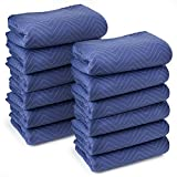 "Sure-Max 12 Moving & Packing Blankets - Deluxe Pro - 80"" x 72"" (40 lb/dz weight) - Professional Quilted Shipping Furniture Pads Royal Blue"