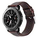 iBazal 22mm Bracelet Cuir Watch Bandes Compatible avec Samsung Galaxy Watch 3 45mm/Gear S3 Frontier Classic,Galaxy Watch 46mm Bands Remplacement pour Huawei GT/2 Classic,TicWatch Pro Hommes - Café