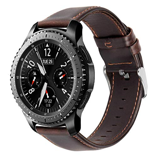 iBazal 22mm Armband Leder Uhrenarmband Lederarmband Armbänder Ersatz für Samsung Galaxy Watch 3 45mm/Galaxy 46mm, Gear S3 Frontier/Classic,Huawei GT/2 Classic,Ticwatch Pro Herren Bands - Kaffee
