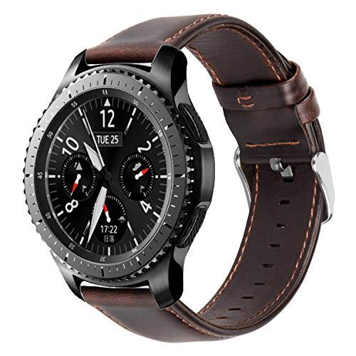 iBazal 22mm Armband Leder Uhrenarmband Lederarmband Armbänder Ersatz für Samsung Galaxy 46mm, Gear S3 Frontier/Classic,Huawei GT/2 Classic/Honor Magic,Ticwatch Pro Herren Bands Uhrarmband - Kaffee