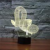 Creative 7 Couleurs Lampe de Table 3D Acrylique Animal Serpent Forme Led Ballon Chien Night Light Cadeaux pour Enfants USB Rêve Éclairage Décoration