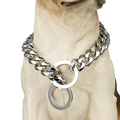 Tobetrendy Chain Dog Training Choke Collar Silver Cuban Link Dog Collar 316L Stainless Steel Metal 15mm Heavy Duty Slip Collar for Medium Large Dogs(15MM, 26')