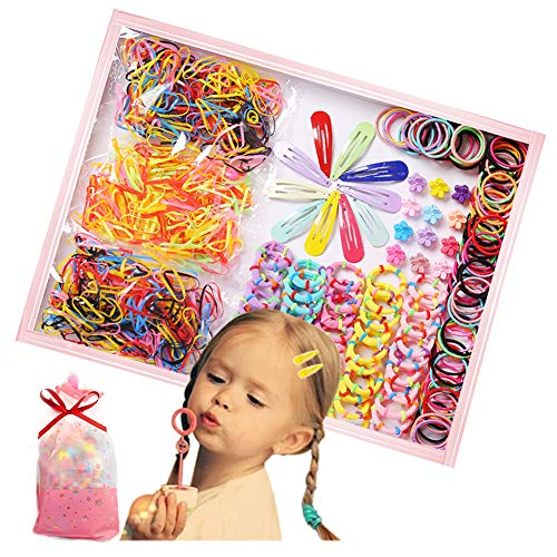 770PCS Hair Ties for Baby Girl, Hairpin Set Small Hair Bands Elastic Ponytail Holders Toddlers Daily Wear , Multicolor Hair Accessories Set with Gift Bag