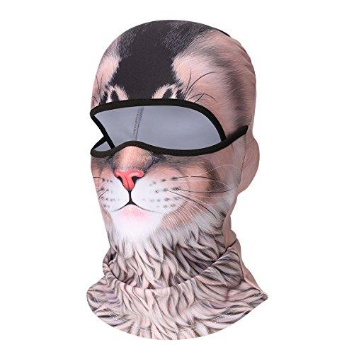 VERTAST Kominiarka maska na twarz, 3D zwierzę aktywna maska na całą twarz do jazdy na rowerze motocyklu kask wkładka turystyka kemping ocieplacz na szyję, kot, zimowy polar