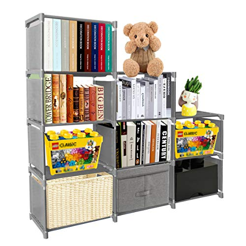 PENGKE Kids Bookshelf 9 Cubes Book Shelf Office Storage Shelf Plastic Storage Cabinet for Book,Plants,Clothes,Shoes,Toys,Grey