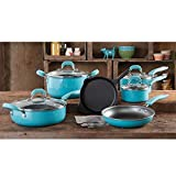 The Pioneer Woman Vintage Speckle 10-piece Non-stick Pre-seasoned Cookware Set, Dishwasher Safe …...