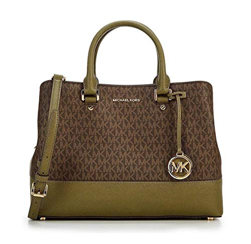 Saffiano leather, Magnetic closure Signature logo hardware, Flat base with metal feet, Gold tone hardware Lined interior includes 3 interior open pockets, 1 zip pocket, 1 cellphone pocket, 1 key holder & 1 center zip compartment Rolled handles drop: ...