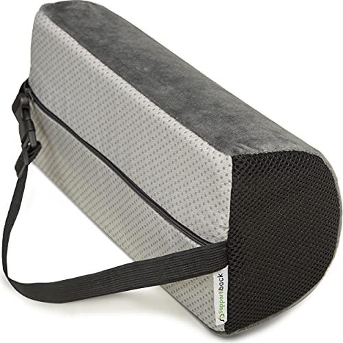 Supportiback Therapeutisches Lendenkissen in D-Form, Formspeicherung, ergonomisches Rückenkissen für Zuhause, Büro, Auto, Reisen, Linderung und Vorbeugung von Rückenschmerzen