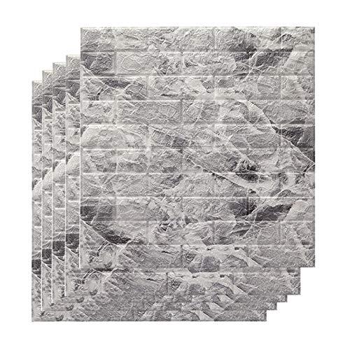 Pannelli da Parete Adesivi da Parete 3D 10 Pezzi Carta da Parati in Schiuma PE autoadesiva Impermeabile per TV Parete Bagno Soggiorno Decorazione Domestica 27,55 x 30,31 Pollici,Grigio