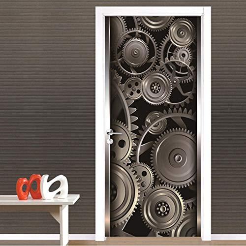 AKSBHC Papel pintado de la puerta 3D, mural 77x200CM Creatividad metal engranajes arte Sala de estar dormitorio mejoras para el hogar pegatinas de pared pegatinas de pared impermeables, decoración de