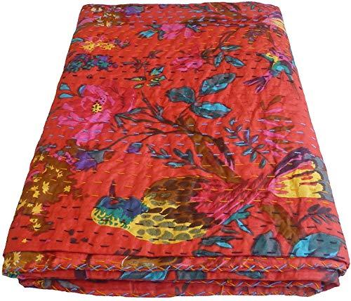 Colcha Kantha con estampado floral rojo, tamaño doble, manta Kantha, colcha Kantha, colcha Kantha, colcha Kantha, colcha Kantha de algodón, colcha Kantha, colcha Kantha