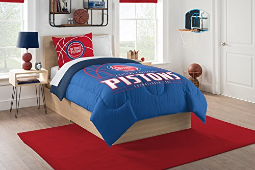 Officially Licensed NBA Detroit Pistons Reverse Slam Twin Comforter and Sham