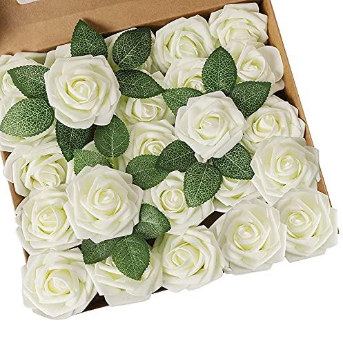 Ruiuzioong Künstliche 25 Stück Rosen Blumen Schaumrosen Foamrosen Kunstblumen Rosenköpfe Gefälschte Kunstrose Rose für Hochzeit Blumensträuße Braut Zuhause Dekoration (Elfenbein, 25 Stück)