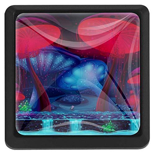 Manopole quadrate per cassetti, 3 confezioni da 37 mm, con palme blu, ideali per camera da letto, cassettiera, armadio, cucina, Fantasy Sewer, 37x25x17mm 1.45x0.98x0.66in
