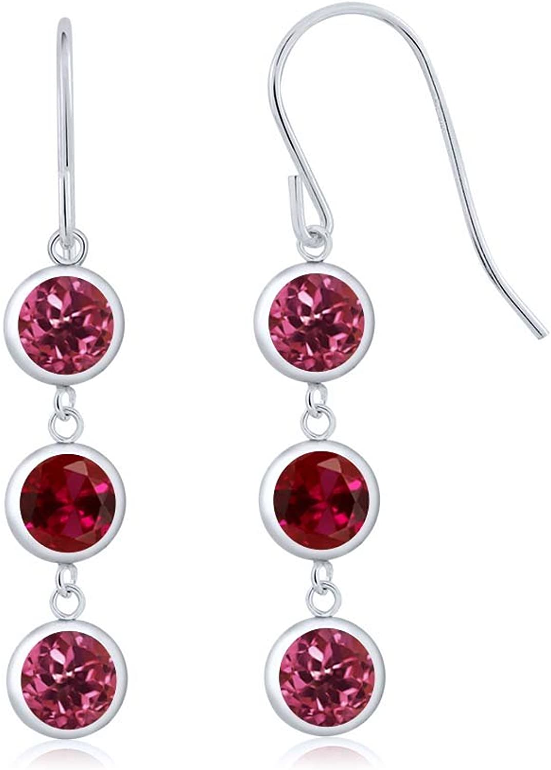 3.20 Ct Round Pink Tourmaline Red Created Ruby 925 Sterling Silver Three Stone Dangle Earrings
