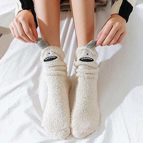 MIWNXM 10 Pares WinterThick Cotton Socks Cartoon Little Monster Coral Velvet Floor Socks Cute FunnyEars Home Warm Women Socks