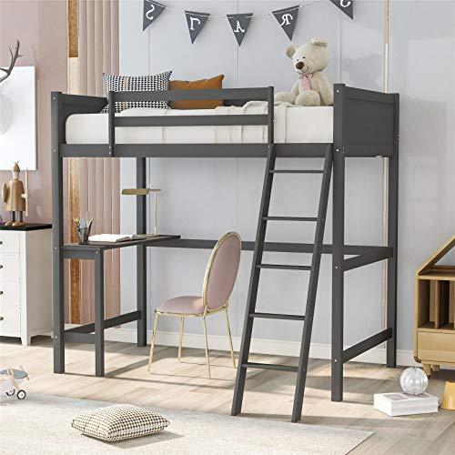 Kids Loft Beds, Twin Loft Bed with Desk, Space-Saving Wood High Loft Bed for Dorm, Boys & Girls Teens Kids, Gray
