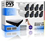 Set de cámara de vigilancia Ultra HD con Grabador 4K NVR y 8 cámaras IP PoE de 8 megapíxeles.