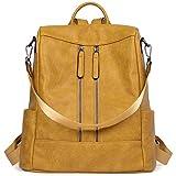 BROMEN Mochila de cuero antirrobo para mujer, mochila de viaje, escuela, bolso de hombro, color Amarillo, talla M