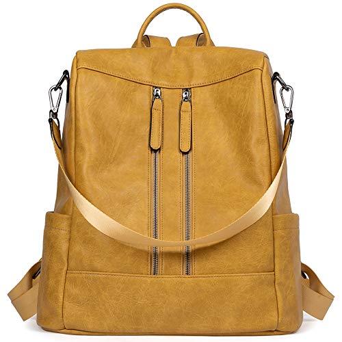 BROMEN Rucksack Damen Anti Diebstahl Rucksack Damenrucksack aus Leder Rucksackhandtasche Tagesrucksack für Frauen Mädchen, Gelb