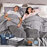 Reversible Weighted Blanket King Size 25lbs(88''x104'', All Season Use), Warm Short Plush and Cool Tencel Fabric Double-Sided Weighted Blanket California King Size for Couples - Carry Bag Included