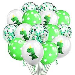 4. Grier Latex Dinosaur Confetti Balloons (15 Pieces)