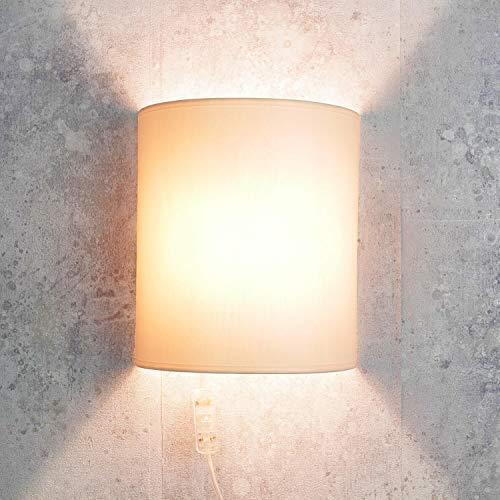 Moderne Wandleuchte mit Kabel Anschluss in Creme elegant Loft Stoff Wandlampe ALICE