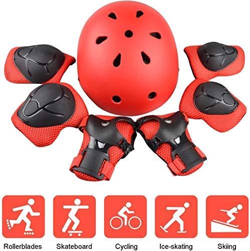 DEEWISH Helme Kinder Schonerset Verstellbar Ellenbogenschoner für Skateboarder 7pcs Sport Schutzausrüstung Helme für Skateboarding Kinder Protektorenset (S, 48-54cm, Rot)