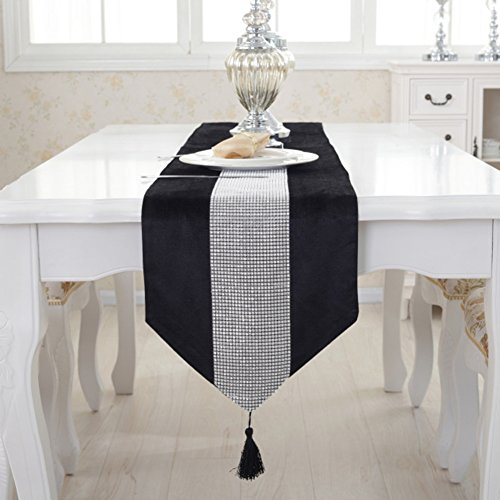 Camino de mesa, camino de mesa moderno Diamantes de imitación de franela Corredores de matrimonio Decoración navideña Camino de mesa de oro púrpura con borlas para la decoración de la mesa de comedor