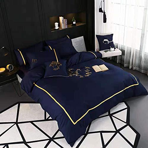 Housse De Couette avec Taie d'oreiller, Doux Et Confortable Broderie 100% Coton Ensembles De Literie,Blue-200x230cm
