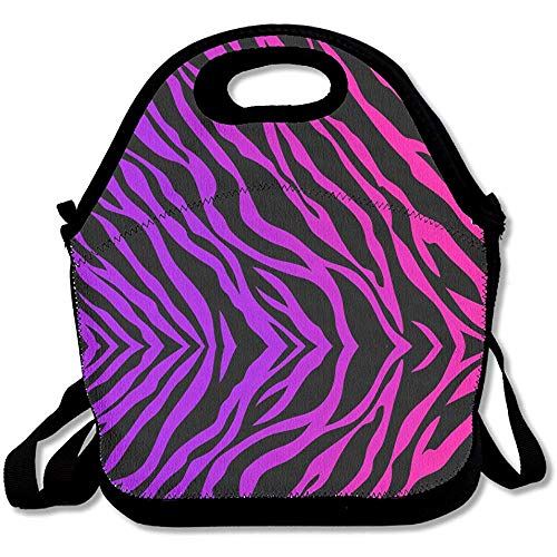 Draagtas, paarse zebra print lunchtas verstelbare riem