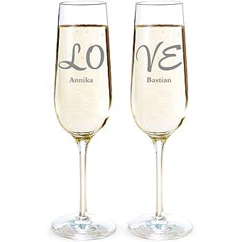 AMAVEL Lot de 2 flûtes à champagne LOVE Personnalisées