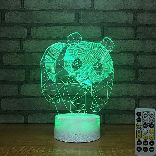 XZZTX 3D Optique Illusion Lampe, 7 Couleurs changeant Smart Touch télécommande LED veilleuse pour Les Enfants Cadeaux Maison décorations,Colorfulremotecontrol