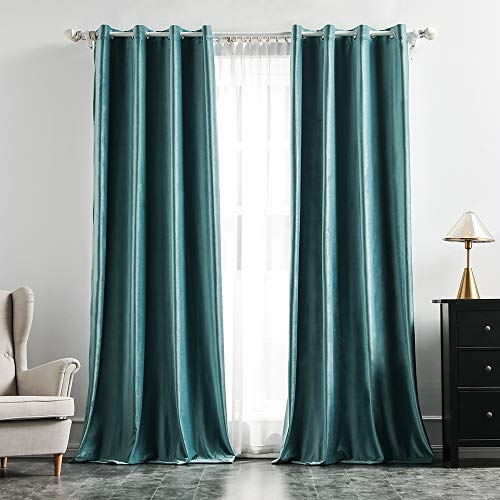 MIULEE 2 Panels Blackout Velvet Curtains Solid Soft Grommet Teal Curtains Thermal Insulated Soundproof Room Darkening Curtains / Drapes / Panels for Living Room Bedroom 52 x 108 Inch