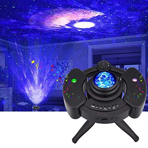LED Sternenhimmel Projektor, Galaxy Light Sternenlicht, Kinder Nachtlicht Projektionslampe mit Starry Stern, Mond/Wolke, Timer und Musikspieler mit Stereo Bluetooth für Party Geburtztag Dekoration