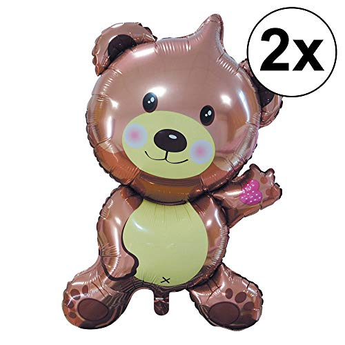 Cepewa 2er Set XXL Folienballon Teddy Luftballon Ballon 100 cm Party Geburtstag Kinder