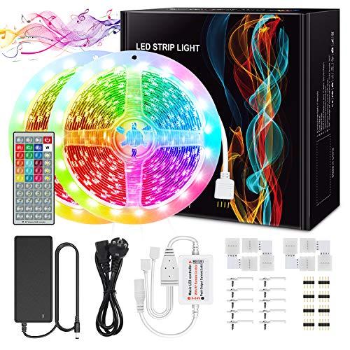 LED Streifen Kit, Chesbung 10M LED Streifen RGB 600LEDs SMD5050, mit 12V 5A Netzteil und 44 Tasten RF-Fernbedienung für emotionale Deko (kleine Klebeband und Schnallen)