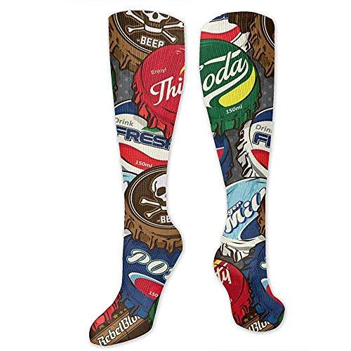 Retro Tapas de botellas populares clásicas Calcetines altos Calcetines locos Calcetines divertidos Calcetines de vestir para mujeres Hombres