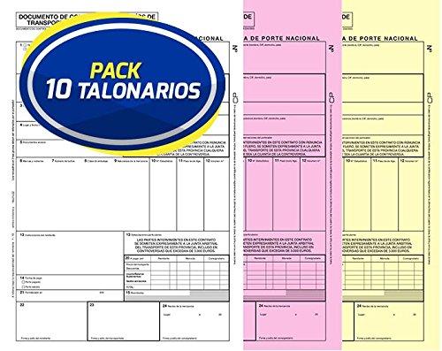 Pack 10 Talonarios Carta de Porte Nacional Autocopiativos Anónimos   Acordes a la legislación de Transporte vigente