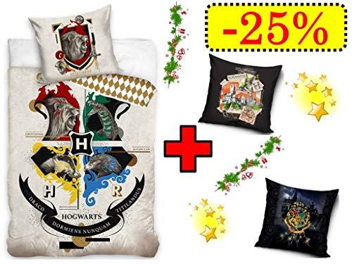 TRENDHAUS Harry Potter Bettwäsche Wendebettwäsche Set, 4-teilig, 135 x 200 cm, 80 x 80 cm, 100% Baumwolle, Linon, Hogwarts Schule, 2 x Kissenbezug 40 x 40 cm