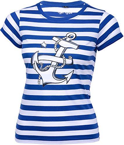 Küstenluder Damen Oberteil Streifen Anker Shirt Blau L