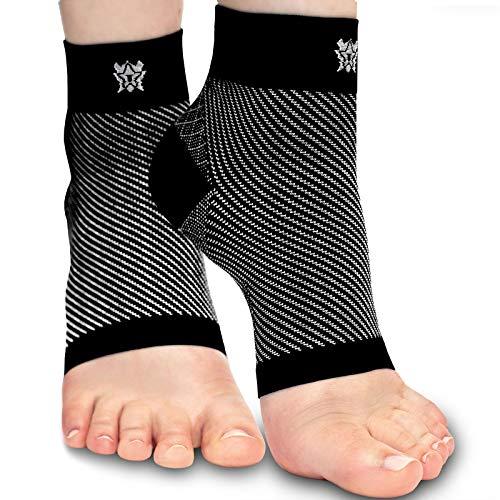 Bitly Fußbandage – Kompressionssocken Unisex – Stützen beim Sport – Helfen bei Fersensporn, Plantarfasziitis, Schwellungen, Schmerzen im Fuß – 1 Paar, schwarz