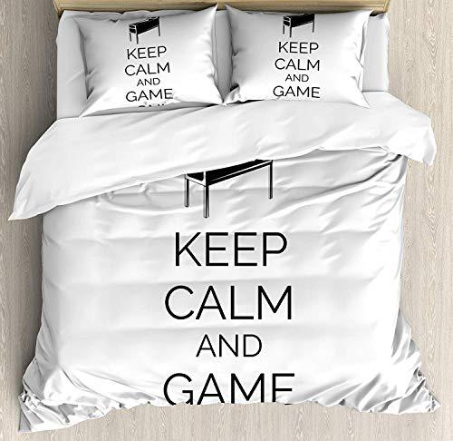 Juego de funda nórdica Keep Calm, concepto de habitación Arcade de máquina de pinball Mantenga la calma y el juego en entretenimiento divertido, juego de cama decorativo de 3 piezas con 2 fund