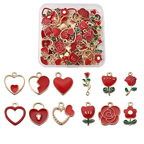 Cheriswelry 72 colgantes esmaltados con forma de corazón y rosa, aleación de oro rojo, 12 estilos, para manualidades, joyas, collares, pulseras, llaveros para hacer el día de la madre