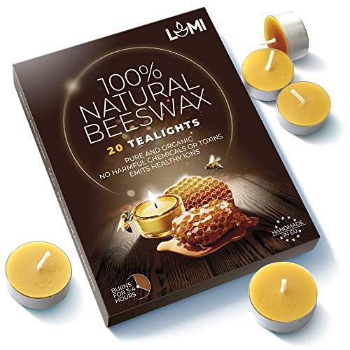 LUMI 100% Organic Beeswax Tea Lights - 20PC Chemical Free and Non Toxic Candles - Fill Your Home with a Honey Scent and a Warm Glow with Pure Beeswax Tea Lights - Aluminum Cup