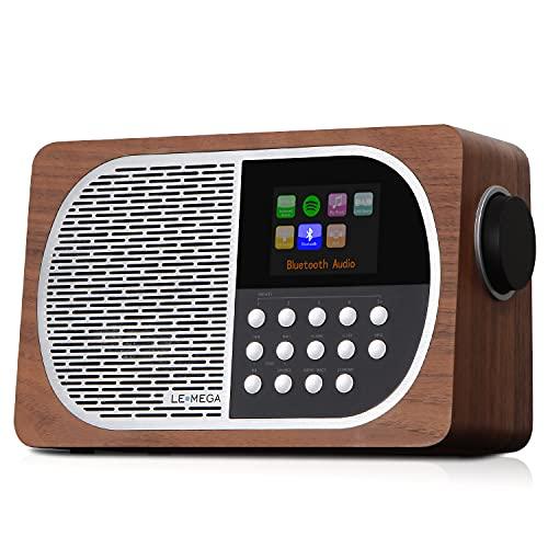 Radio digitale portatile DAB + & FM FM LEMEGA M2i da 7 W con display a colori Wi-Fi, Bluetooth, USB, Aux e TFT - Noce