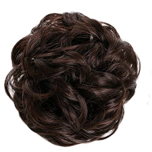 Livecitys Mode Haute Température Fiber Perruques pour Femmes, Bricolage Élastique Perruque De Cheveux Anneau Bouclés Chouchou Bun Queue De Cheval Cosplay Partie Postiche 15#
