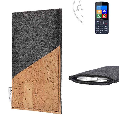 flat.design Handy Hülle Evora für bea-fon SL820 handgefertigte Handytasche Kork Filz Tasche Case fair dunkelgrau